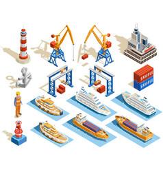 Seaport isometric set vector