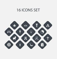 Set of 16 editable faith icons includes symbols vector