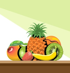 Set of fruits with shadow vector image vector image