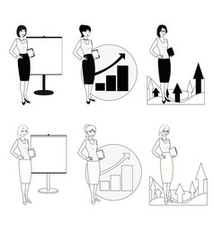 set of of a businesswoman in a black vector image vector image