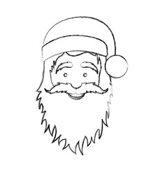 Silhouette blurred face cartoon santa claus vector