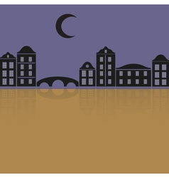 simple black houses reflecting in the night eps10 vector image vector image