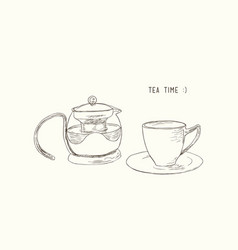 tea set kettle and cup sketch vector image vector image