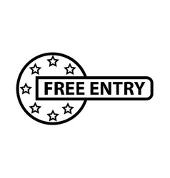 thin line free entry icon vector image vector image