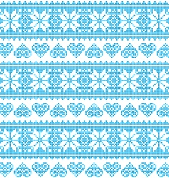Winter Christmas seamless pixelated blue pattern vector image vector image