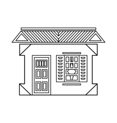 House with one window icon outline style vector