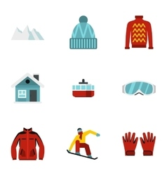 Snowboard icons set flat style vector