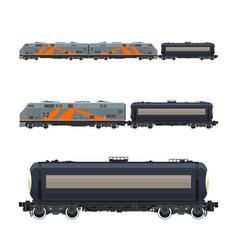 Locomotive with railway tank car vector