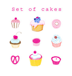 Set of delicious cakes vector