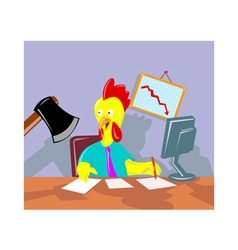 Rooster chicken office worker employee axed vector