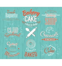 Bakery characters retro vector image