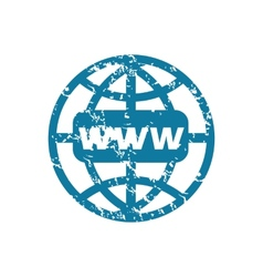 Grunge world net icon vector