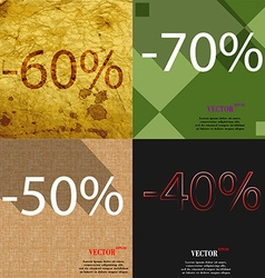 70 50 40 icon set of percent discount on abstract vector