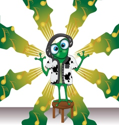 Cartoon frog with headphones on background vector