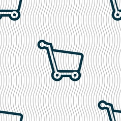 Shopping cart icon sign seamless pattern with vector
