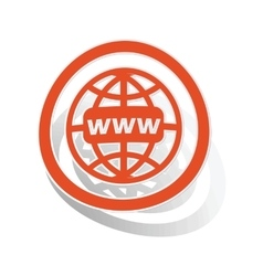 Global network sign sticker orange vector