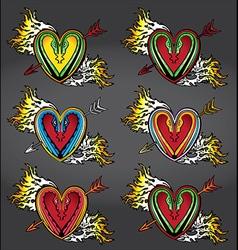 Snake body silhouette heart shape fire flames vector image