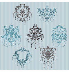 Set of ornamental damask vector