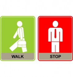 Walk and stop signs vector
