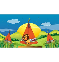 A lion inside a tent vector image vector image