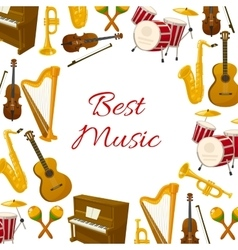 Best music poster of musical instruments vector image vector image