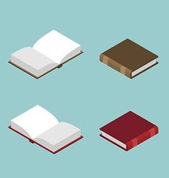 Book isometric set Open volume isolated Ancient vector image vector image