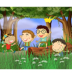 Cartoon Boys Playing vector image vector image