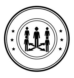 circular border silhouette executive man with vector image