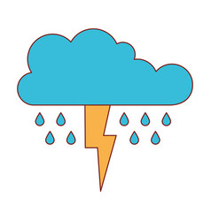 Cloud with rain and thunderbolt in colorful vector
