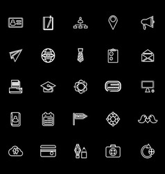 Contact connection line icons on black background vector image
