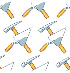 crossing hammer and trowel pattern vector image