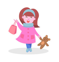 cute girl with bear toy and bag flat icon vector image vector image