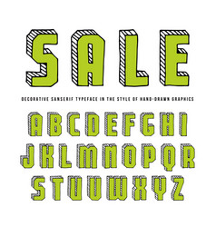 Decorative rectangular sanserif bulk font vector
