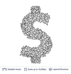 dollar currency sign of white leaves vector image