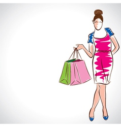 fashion women with shopping bag vector image