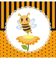 Greeting card with honey bee vector image