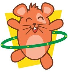 Hamster playing hula hoops vector