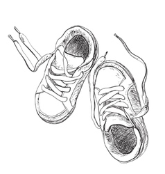 Hand drawn pair of kids shoes vector