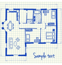 House plan doodle vector image vector image