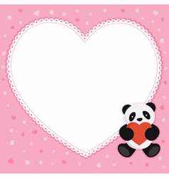 Panda bear with heart shape frame vector image vector image