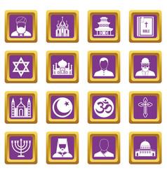 religious symbol icons set purple vector image
