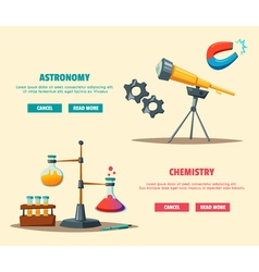 Set of science logo cartoon education theme vector