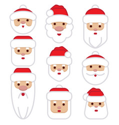 set santa claus cartoon character vector image