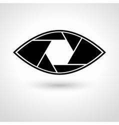 Shutter eye conceptual flat abstract icon vector