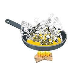 Sinners in pan skeletons in boiling oil hells vector