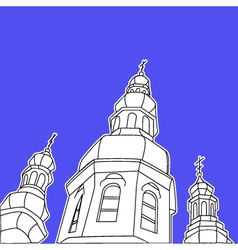 Sketch of the Christian church against the blue vector image vector image