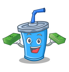 Soda drink character cartoon with money vector