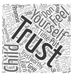 Trust starts with you text background wordcloud vector