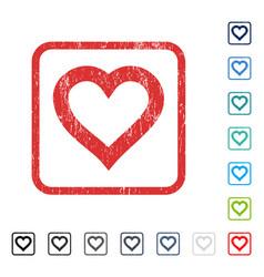 Valentine heart icon rubber watermark vector