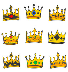 various crown elegant doodle style vector image vector image